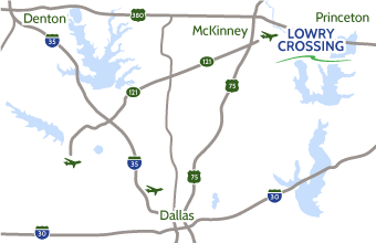 Map of Lowry Crossing near McKinney and Dallas, Texas